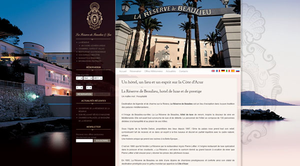 Cr ation du site la r serve de beaulieu spa for Site hotel de luxe